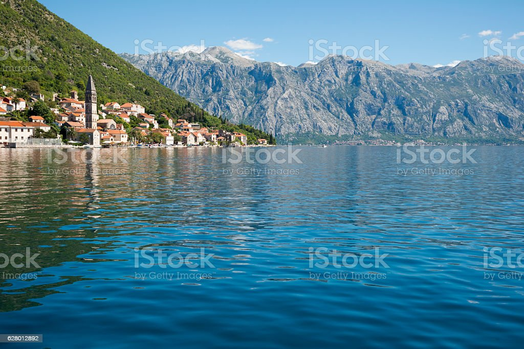 Perast on Bay of Kotor, Montenegro stock photo