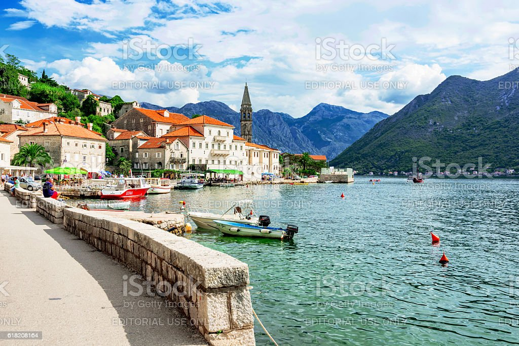 Perast town and waterfront stock photo