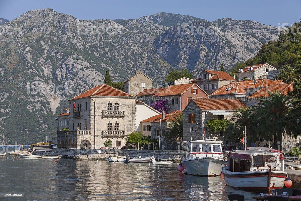 Perast town embankment, Bay of Kotor, Montenegro stock photo