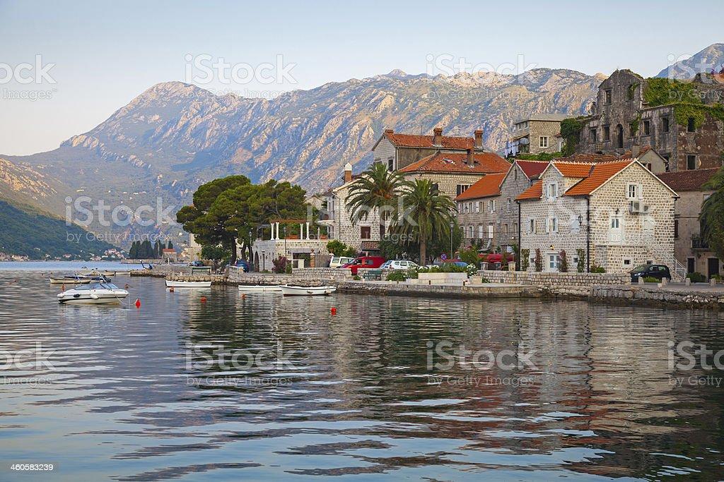 Perast town landscape, Bay of Kotor, Montenegro stock photo