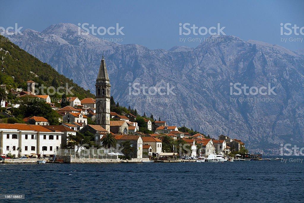 Perast village, next to Kotor, Montenegro royalty-free stock photo