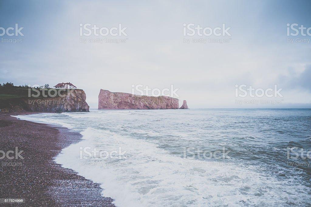 Perce Rock in Perce, Quebec Canada stock photo