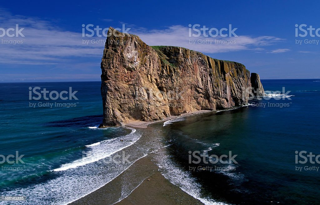 Perce Rock on Gaspe+E115529 Peninsular in Quebec, Canada stock photo