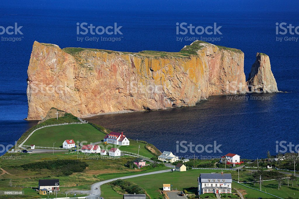 Perce Rock, panoramic aerial view, Quebec stock photo