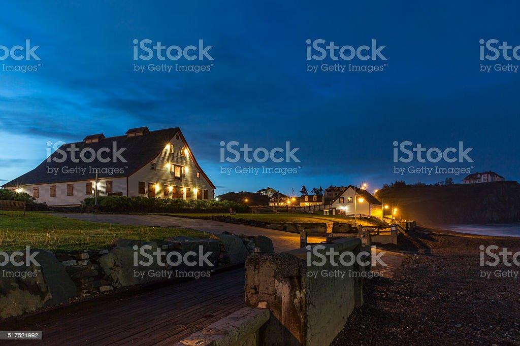 Perce Rock Township at Night, Quebec Canada stock photo