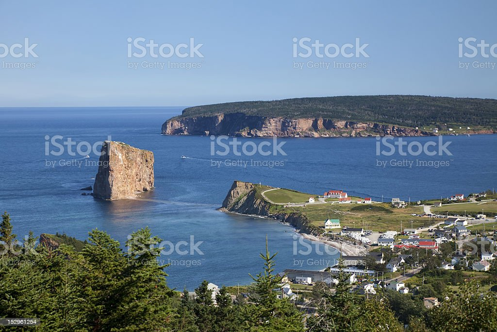 Perce Village and Rock stock photo