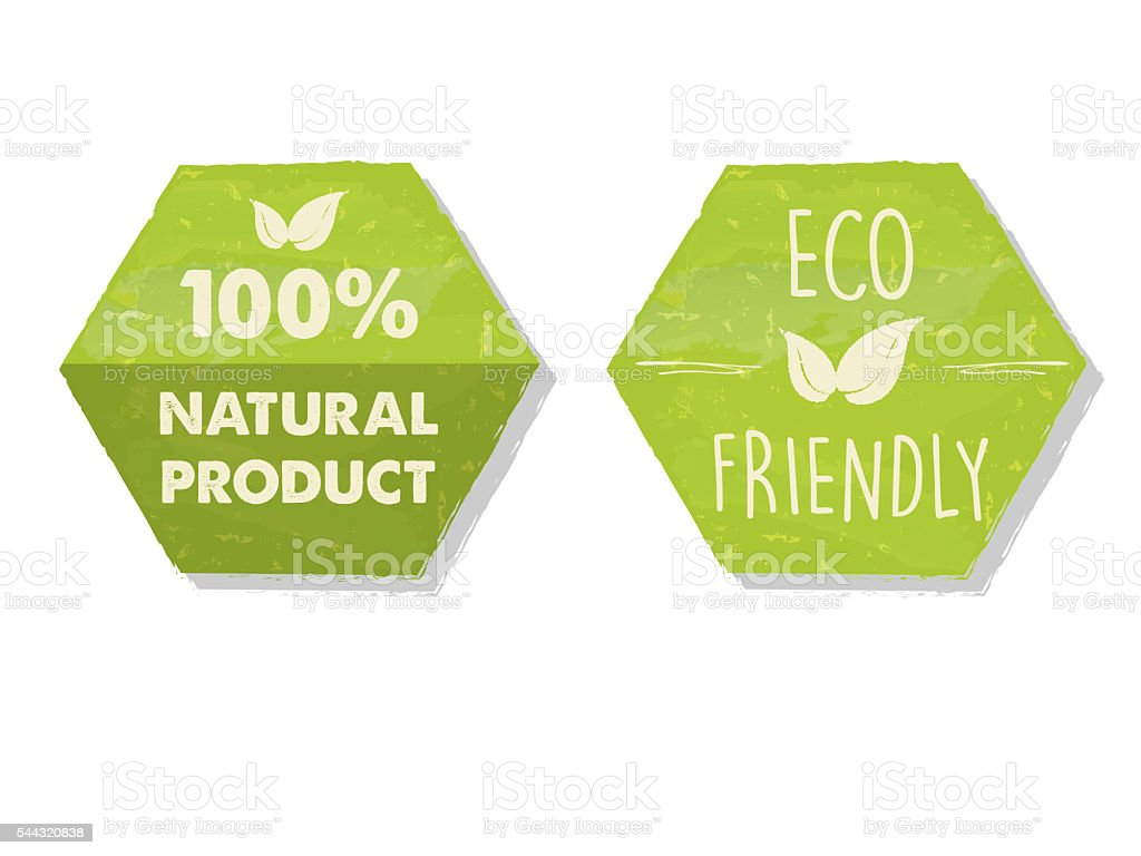 percent 100 natural and eco friendly with leaf sign. labels stock photo