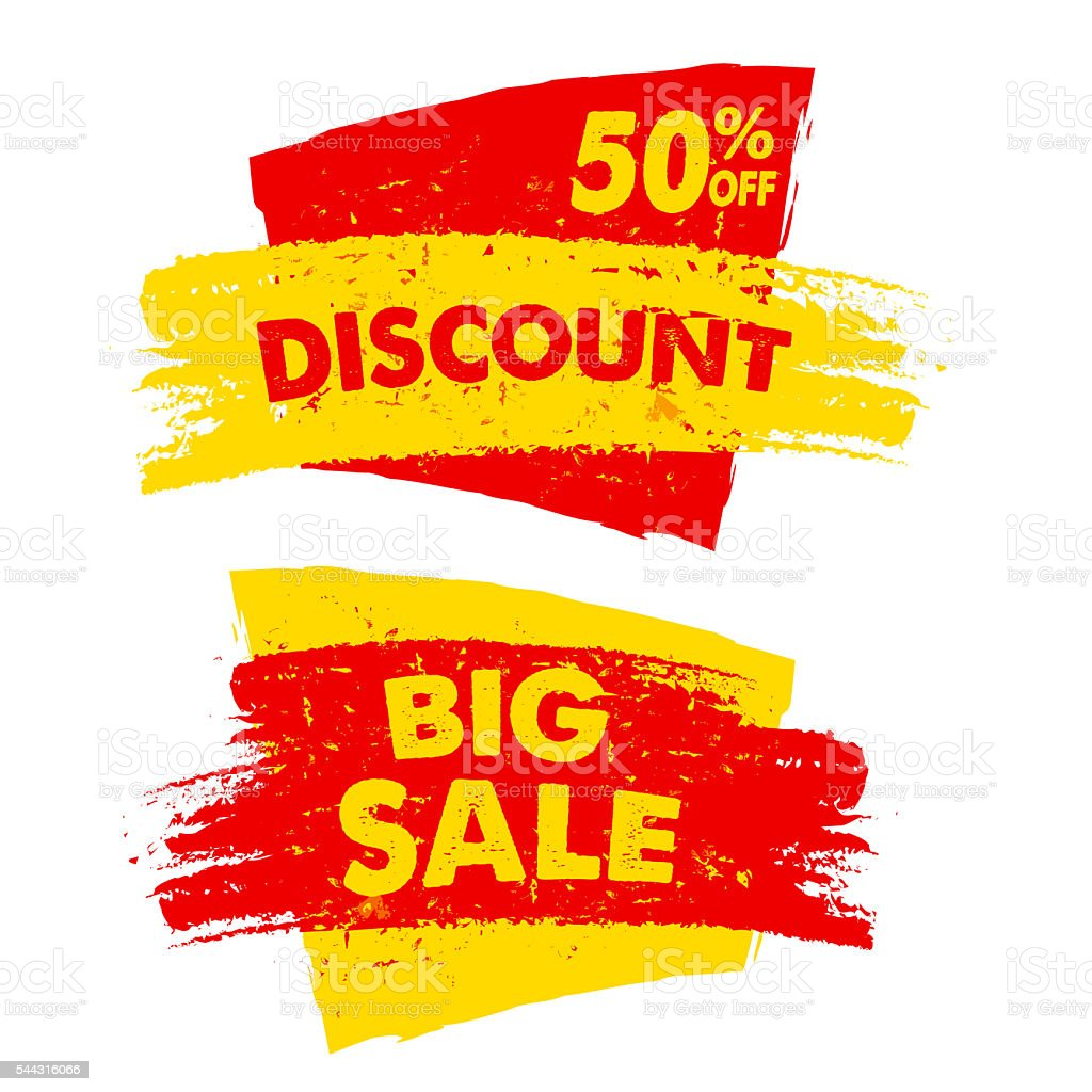 percent 50 off discount and big sale banners stock photo