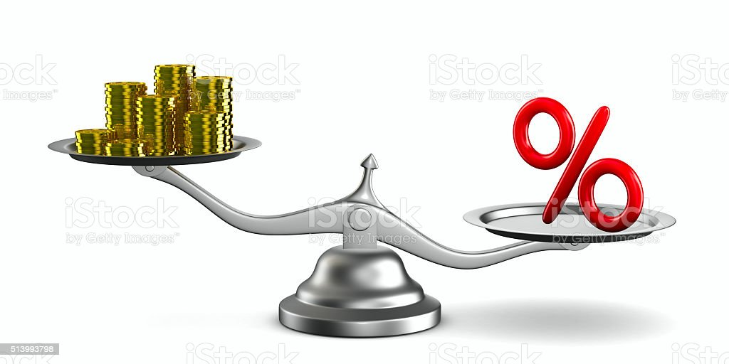 percent and money on scale. Isolated 3D image stock photo