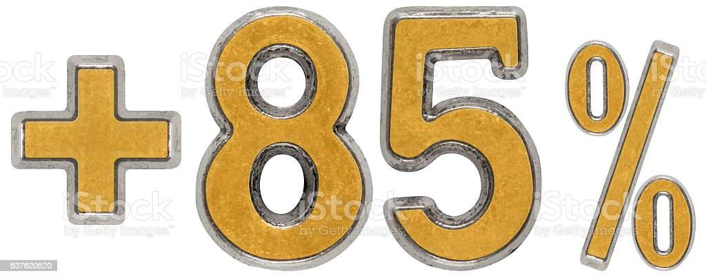 Percent benefits, plus 85 eighty five percent, numerals isolated stock photo