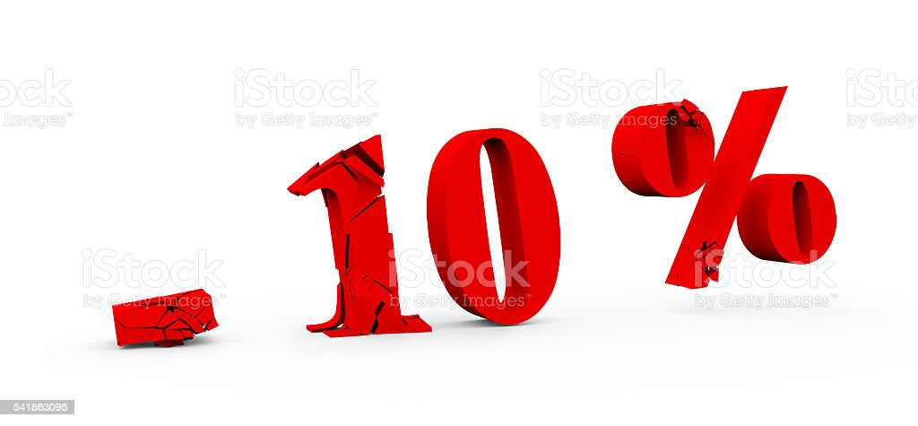 percent discount -10 icon on white background 3D stock photo
