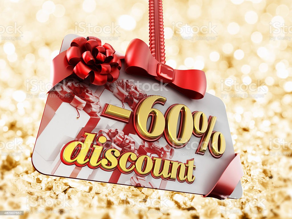 60 percent discount label on gold background stock photo