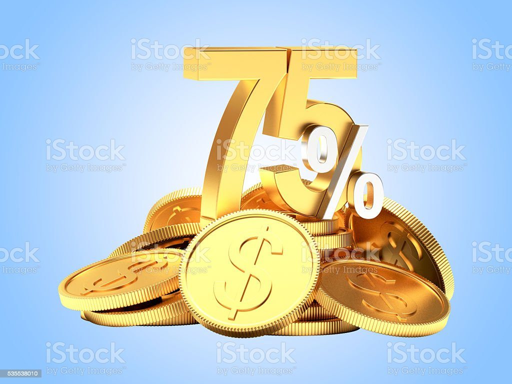 75 percent discount on a pile of coins on blue stock photo