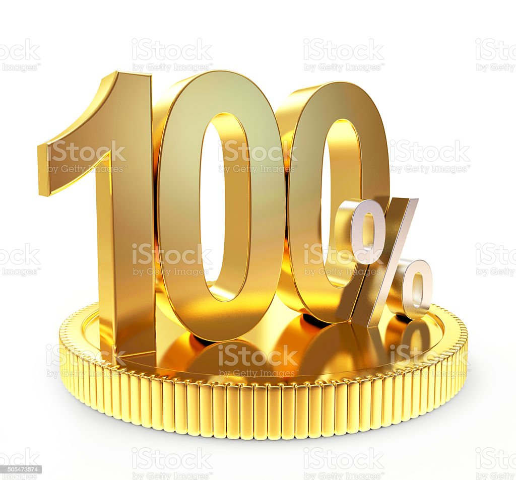 100 percent discount on golden coin stock photo