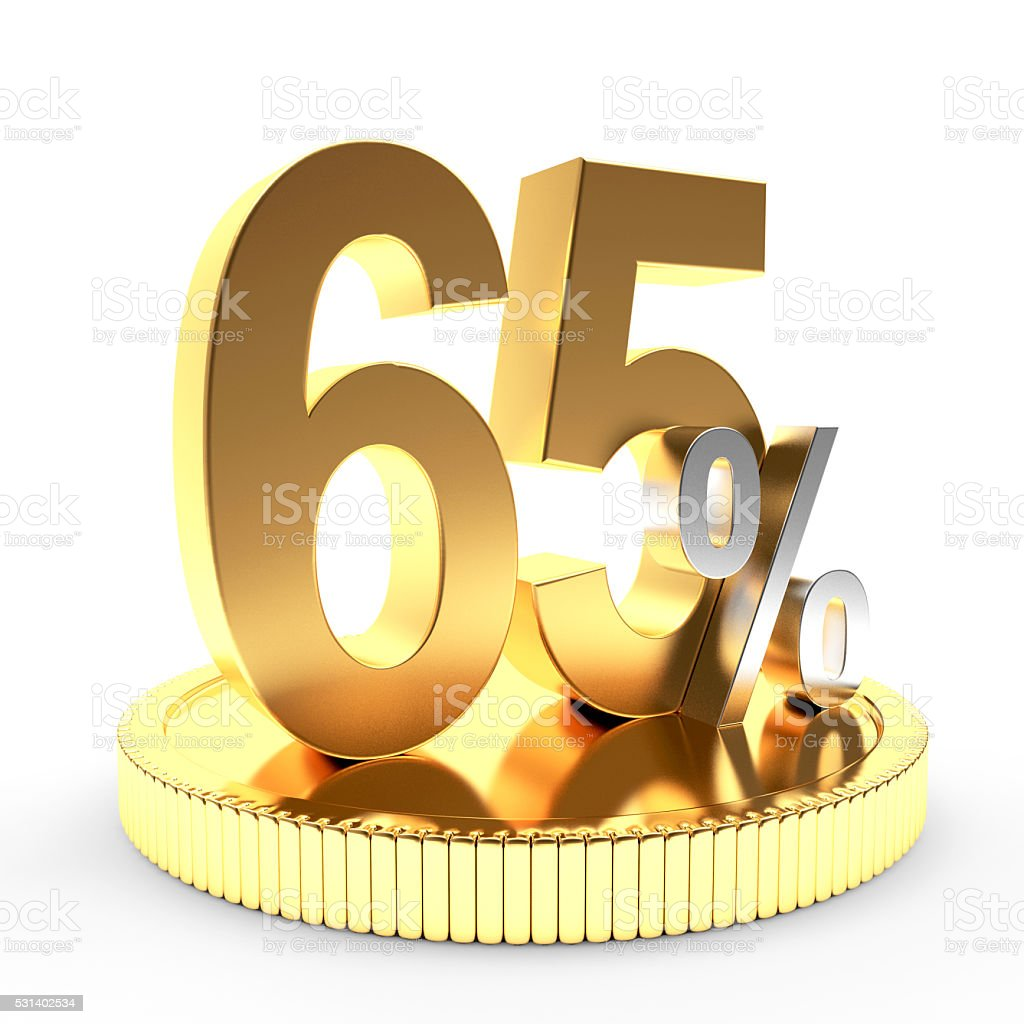 65 percent discount on golden coin stock photo