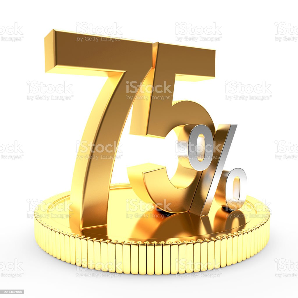 75 percent discount on golden coin stock photo