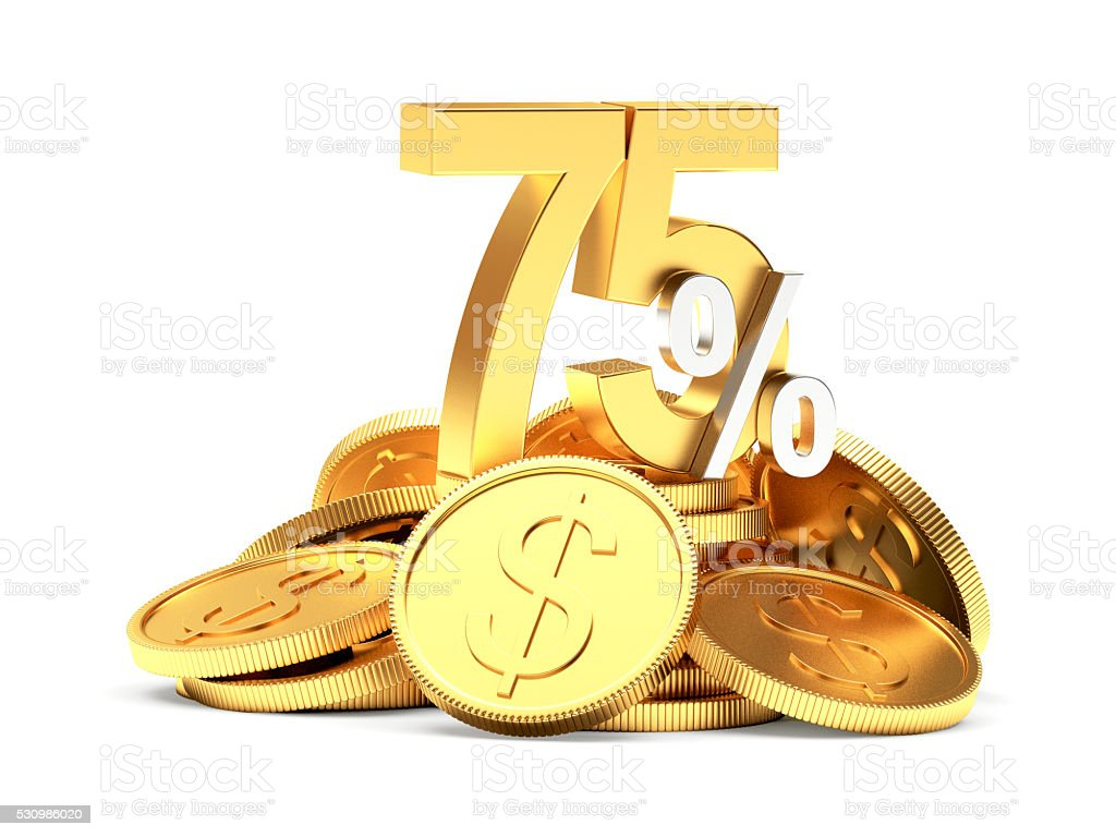75 percent discount on golden coins on white stock photo