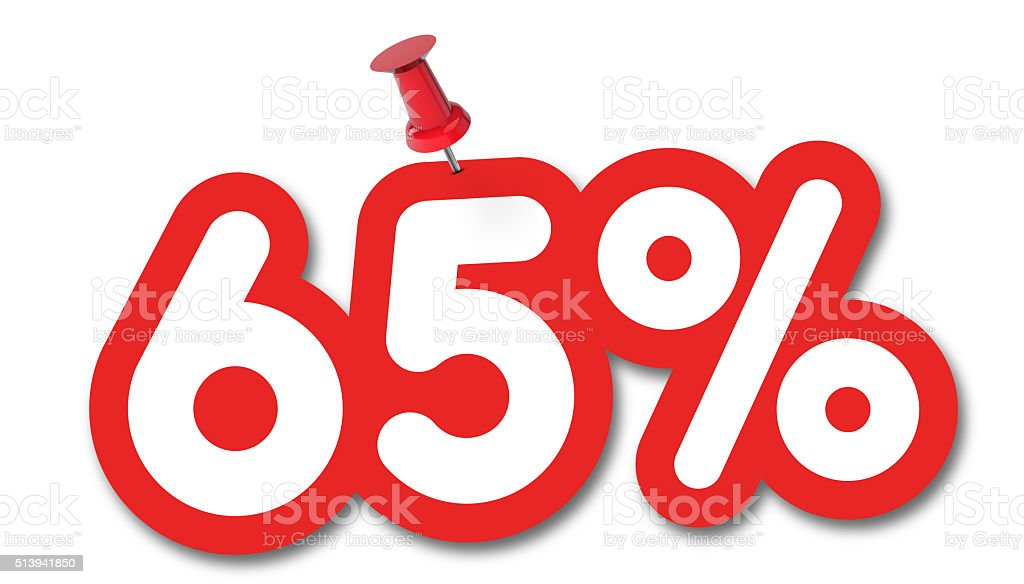 65 percent label pinned on a white background stock photo