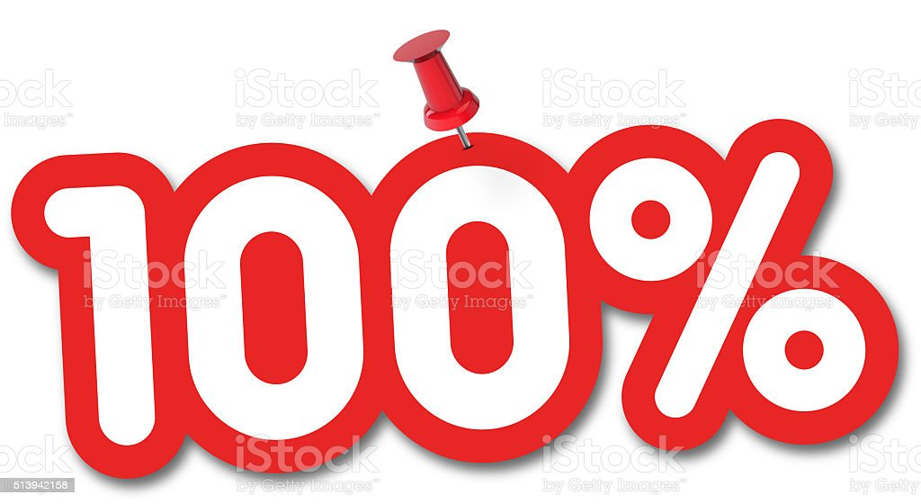 100 percent label pinned on a white background stock photo