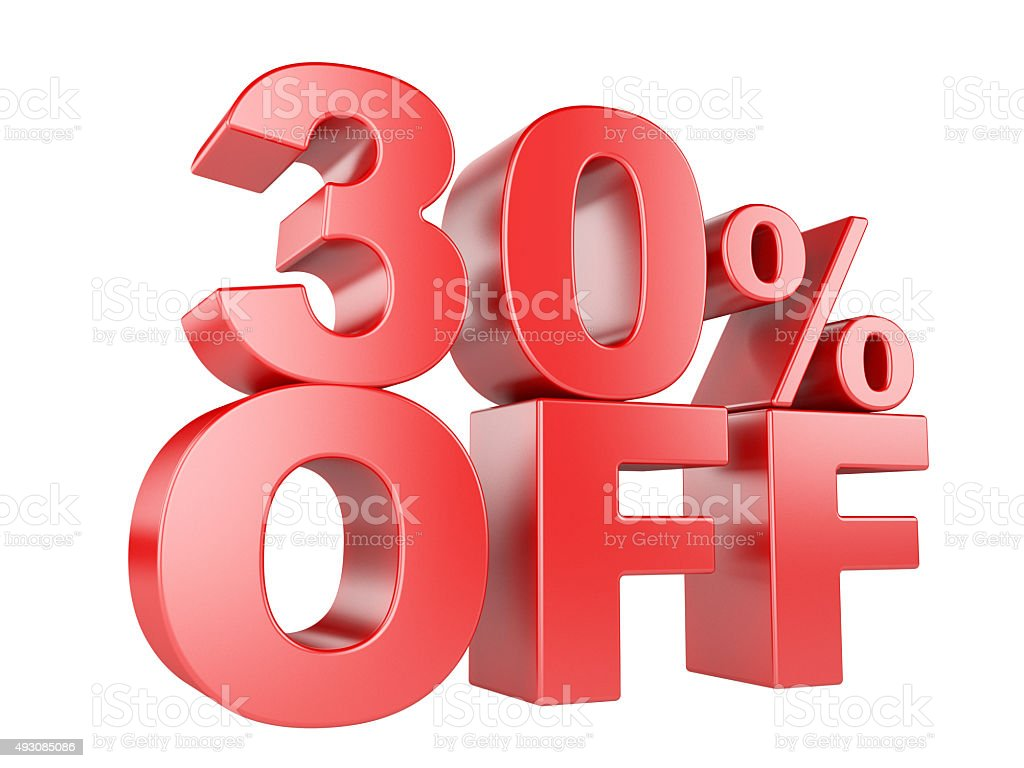 30 percent off 3d icon. stock photo