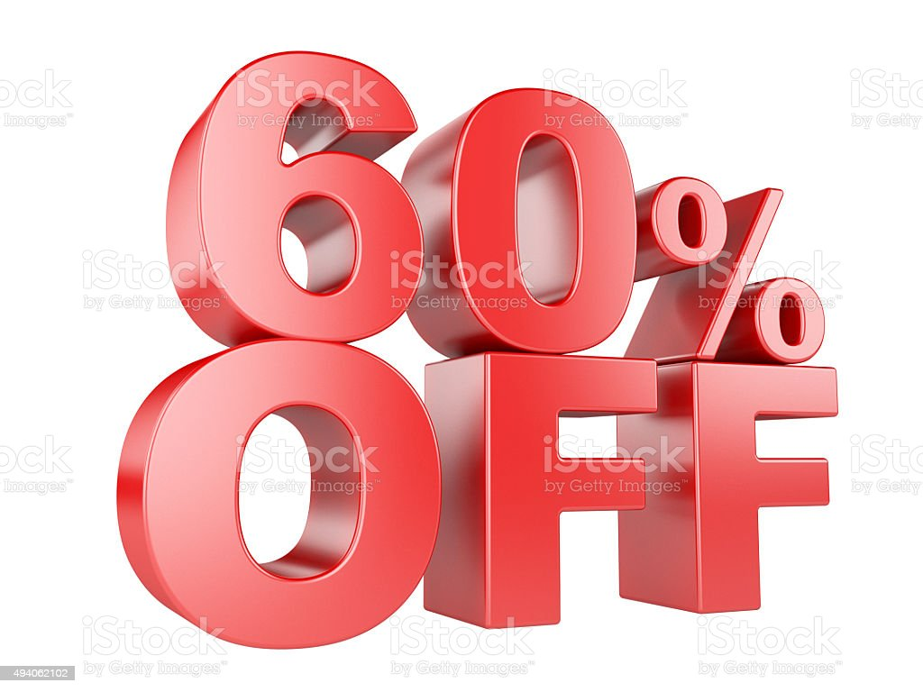 60 percent off 3d icon. stock photo
