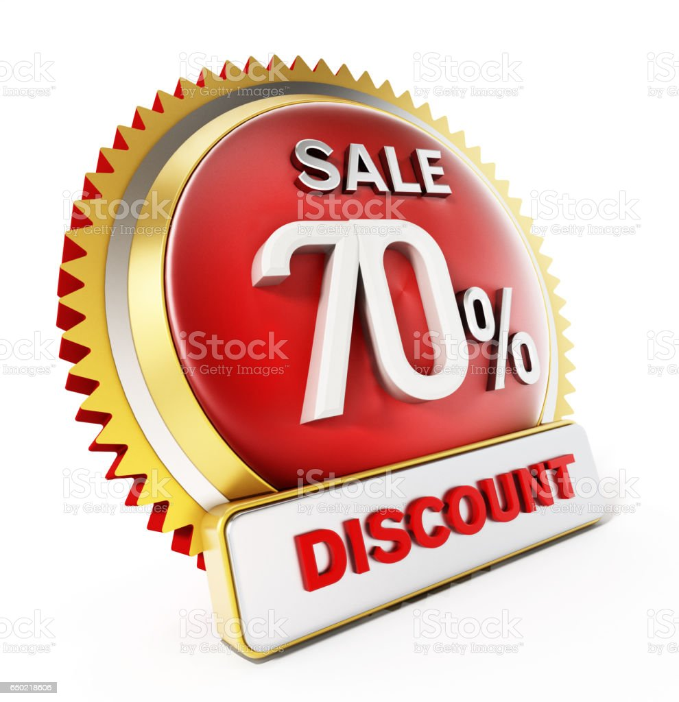 70 percent off discount button isolated on white stock photo