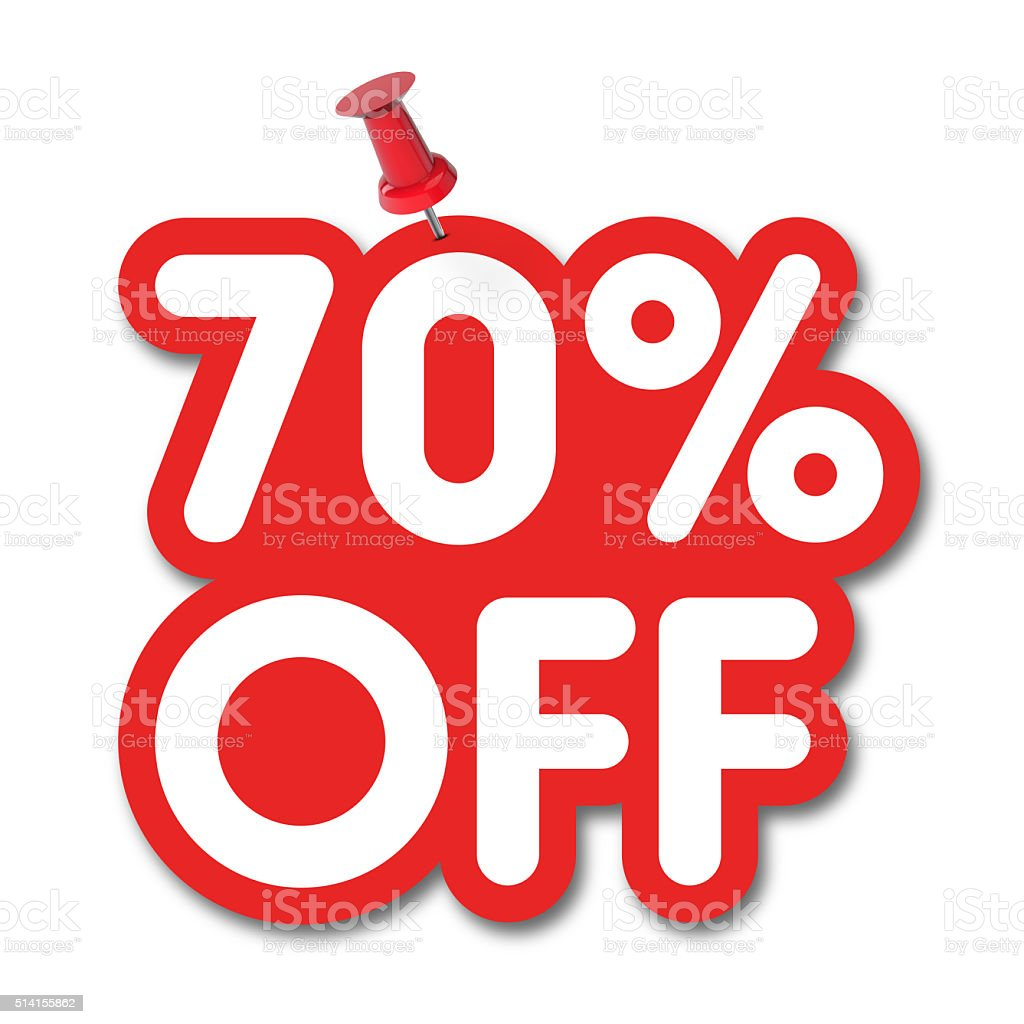 70 percent off label pinned on a white background stock photo
