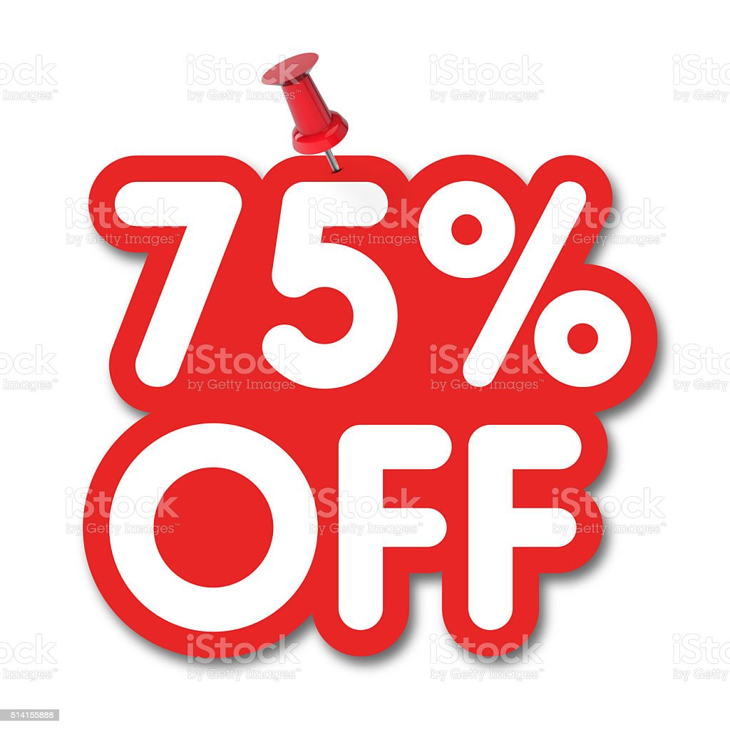 75 percent off label pinned on a white background stock photo