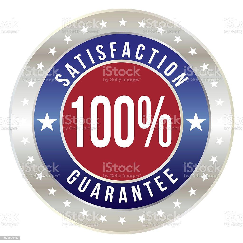 100 percent satisfaction guarantee badge stock photo