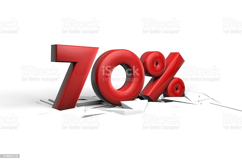 70 Percent sign breaking through a white floor stock photo