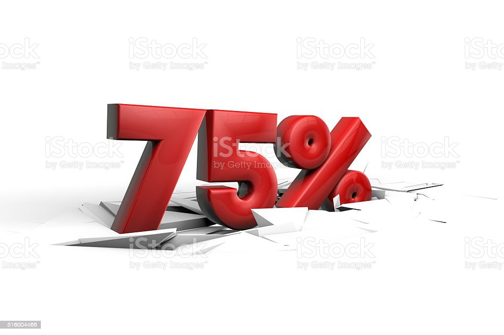 75 Percent sign breaking through a white floor stock photo