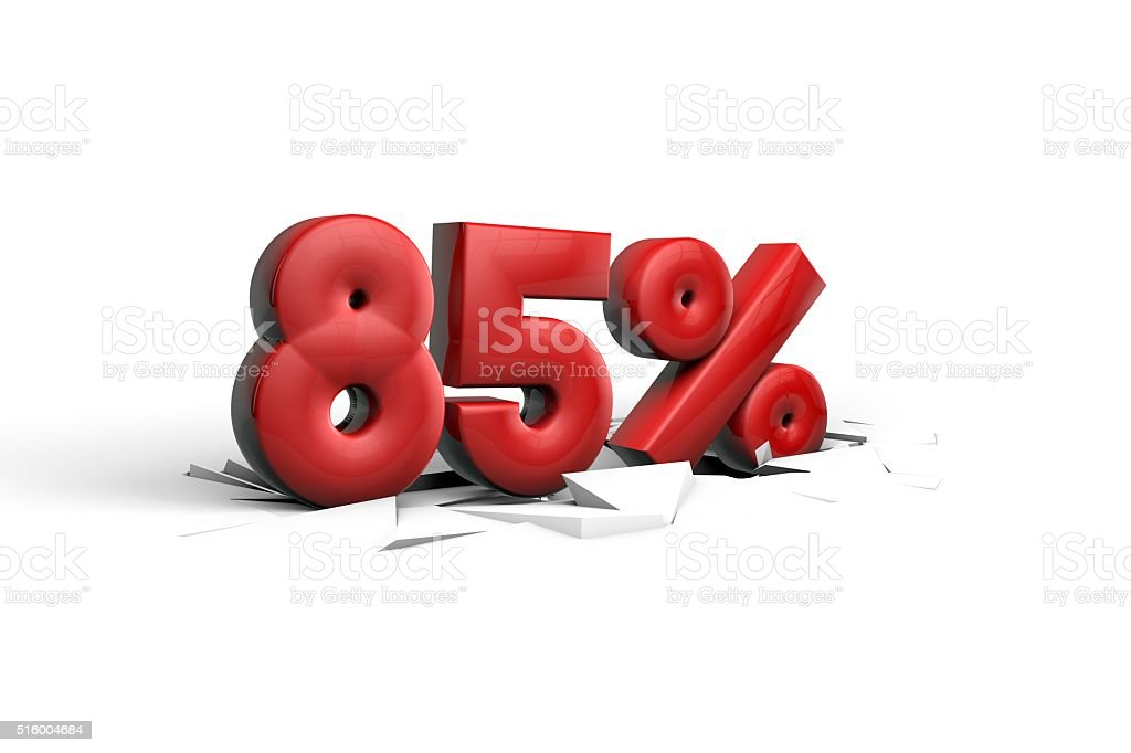 85 Percent sign breaking through a white floor stock photo