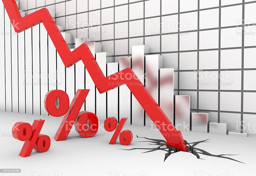 Percent sign crash stock photo