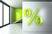 Percent sign in an empty room
