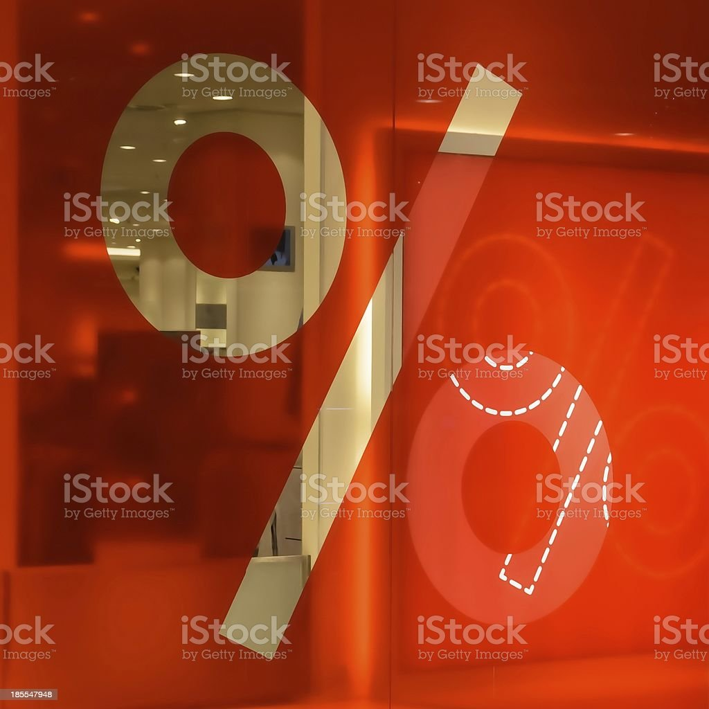 Percent sign on a red background royalty-free stock photo