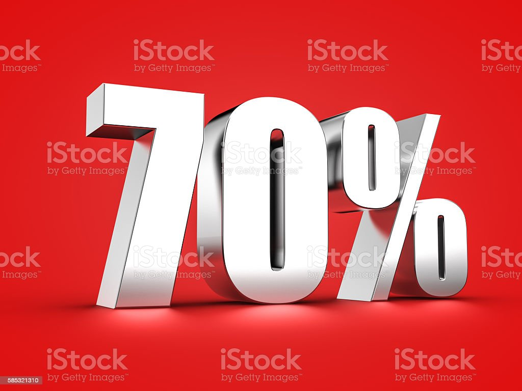 70 percent sign stock photo