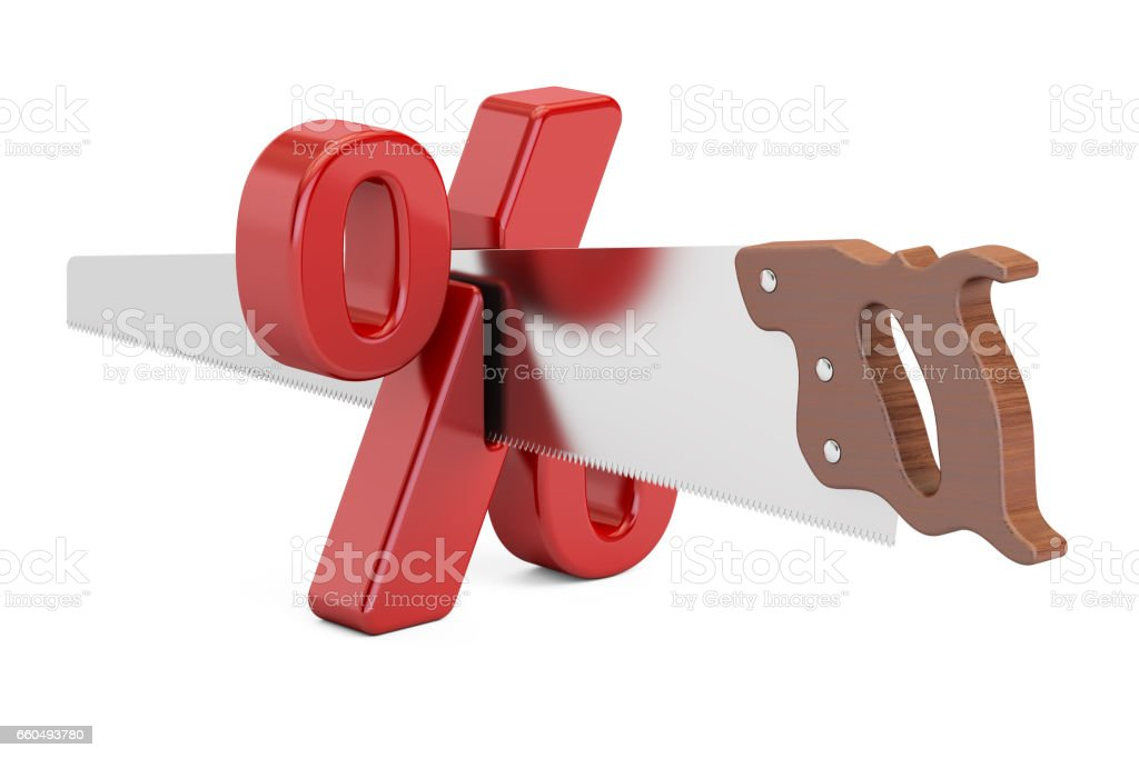 Percent sign with cutting saw. Financial risk concept, 3D rendering stock photo