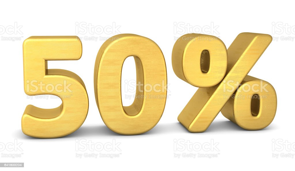 50 percent symbol 3d rendering gold stock photo