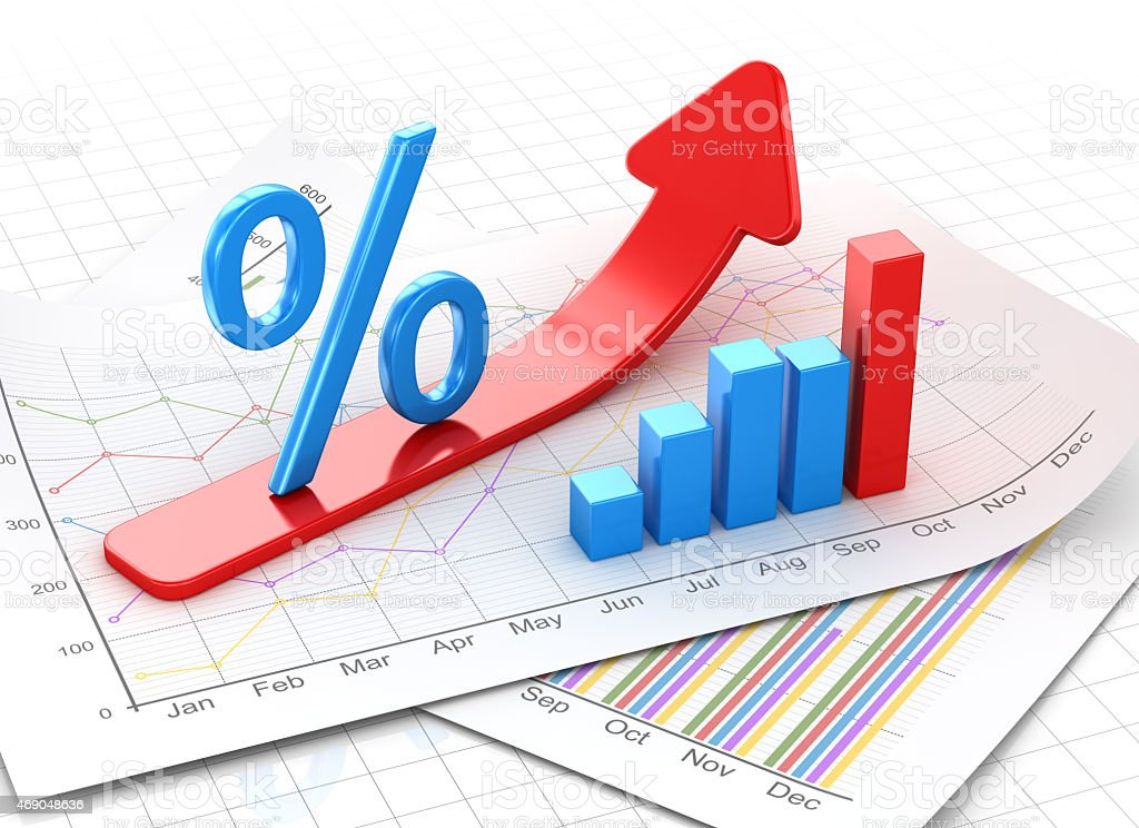 Percent symbol and business chart on financial paper stock photo