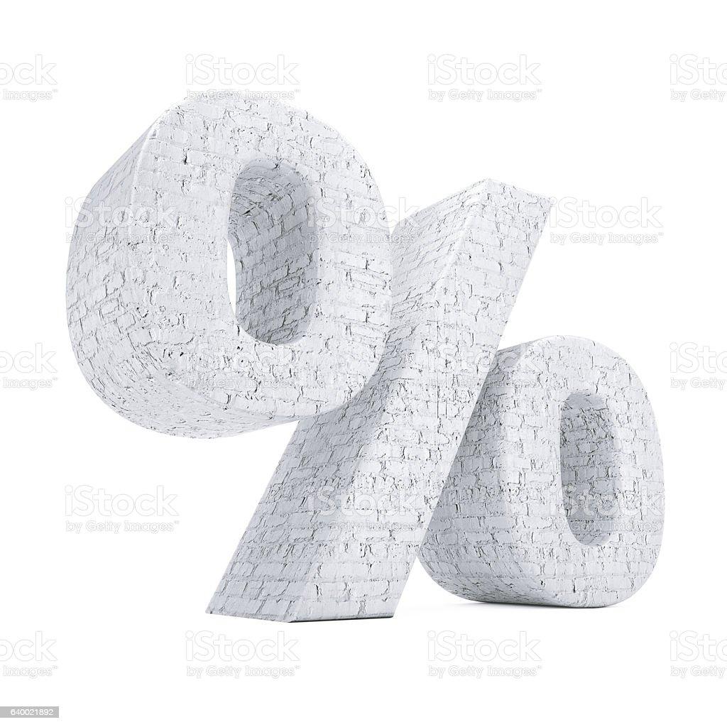 Percent Symbol as Brick Wall. 3d Rendering stock photo