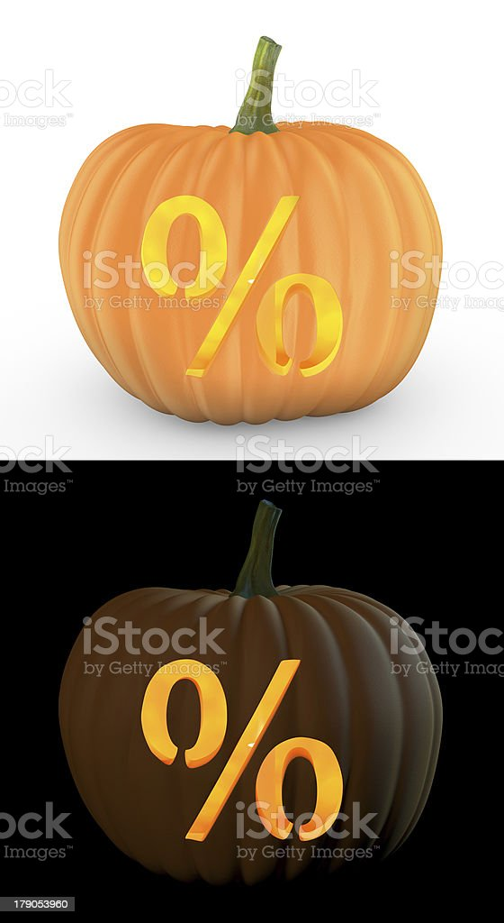 Percent symbol carved on pumpkin jack lantern royalty-free stock photo