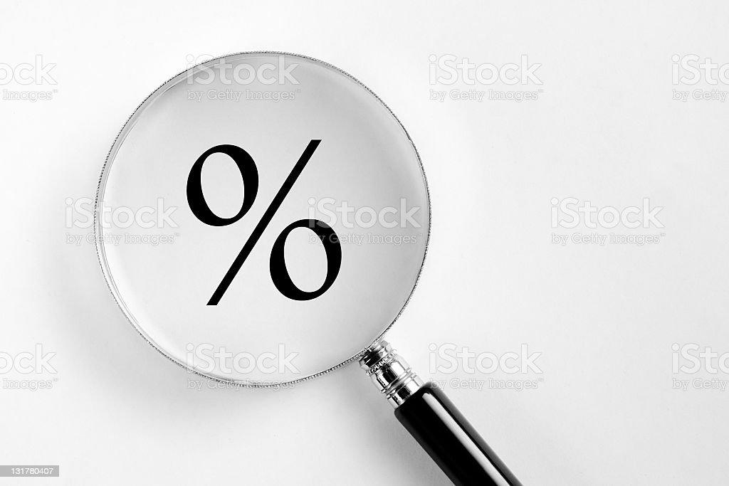 Percent symbol in the microscope stock photo