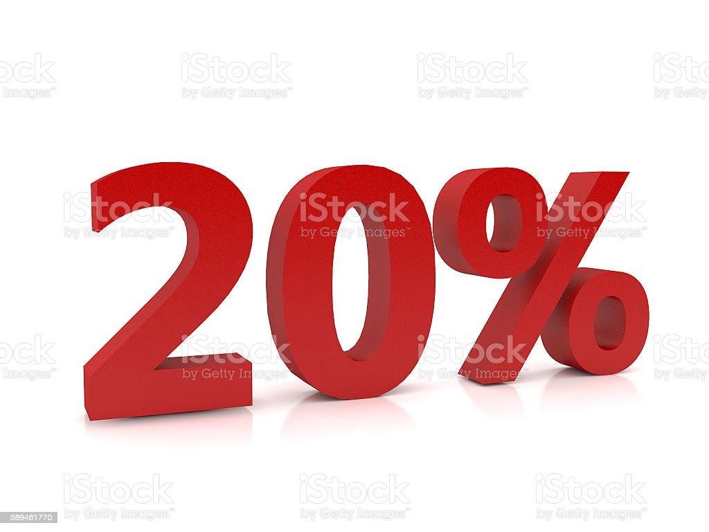 20 percent symbol,3D Rendering stock photo