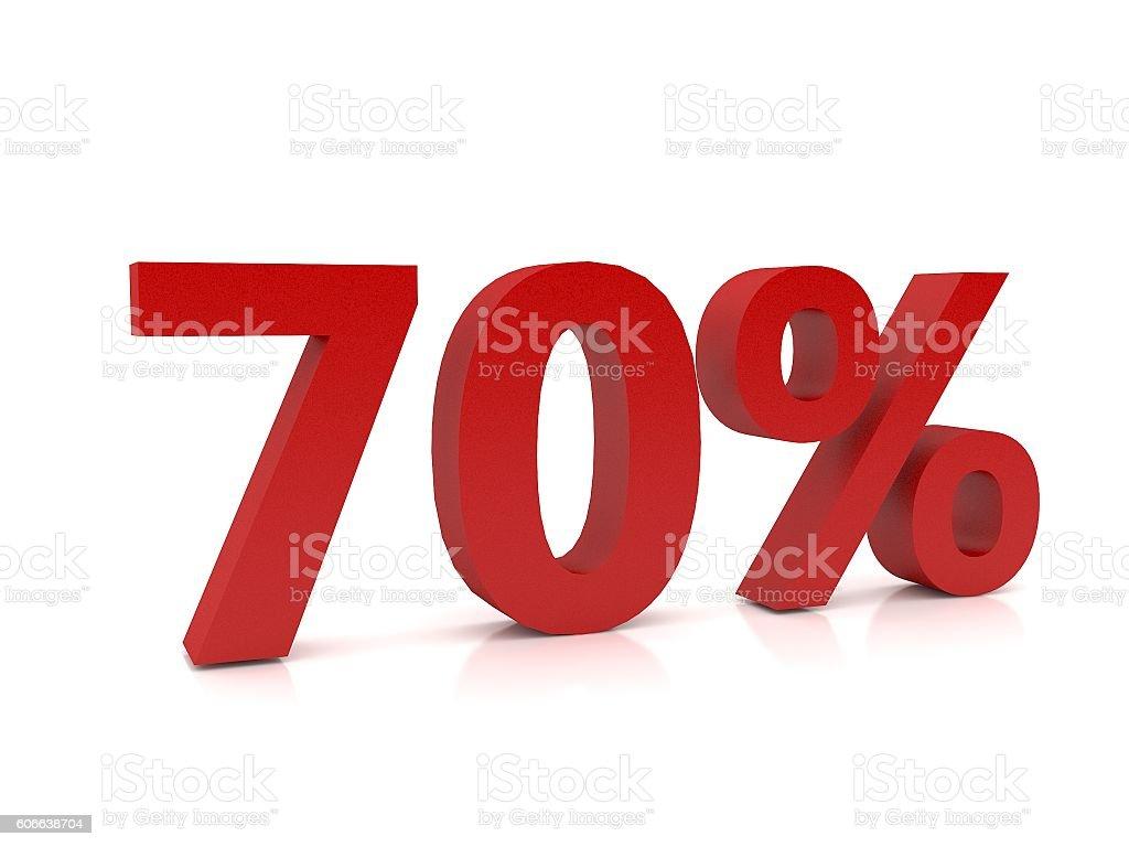 70 percent symbol,3D Rendering stock photo