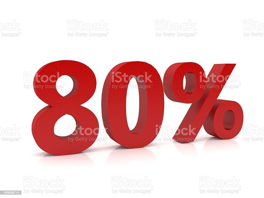 80 percent symbol,3D Rendering stock photo