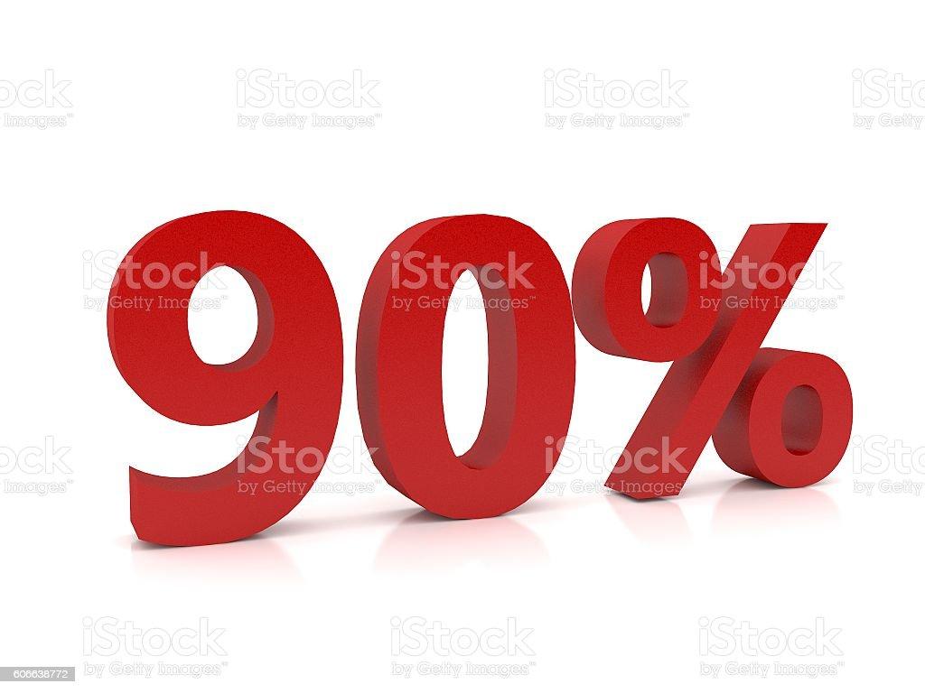 90 percent symbol,3D Rendering stock photo