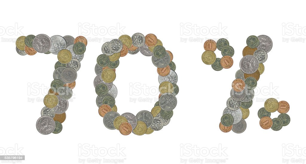 70 percent with old coins stock photo
