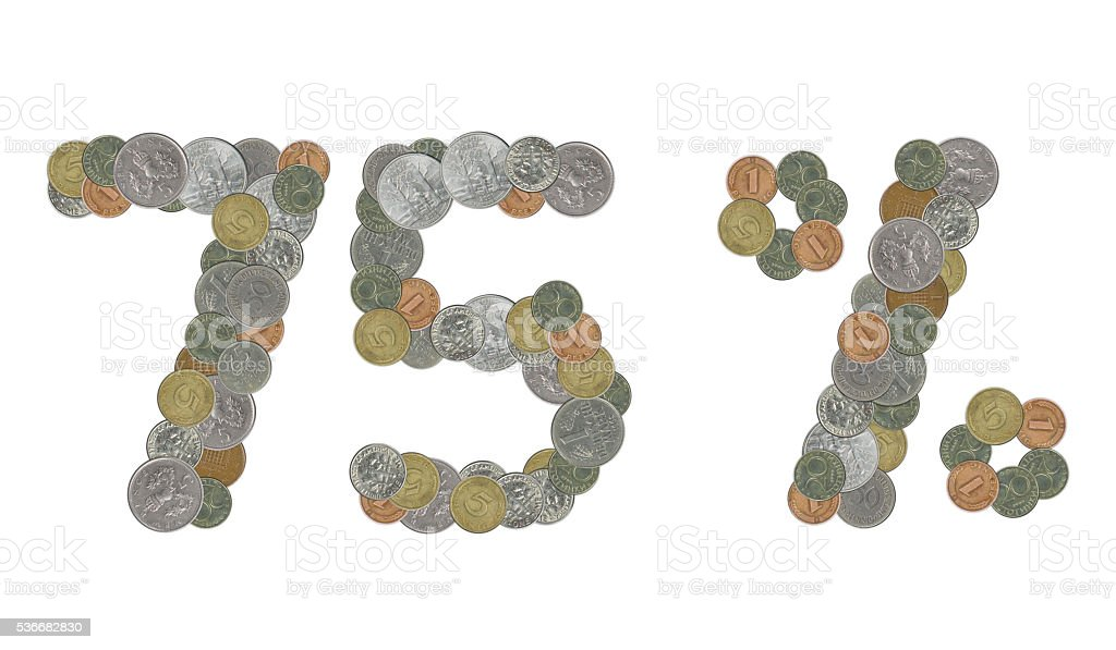 75 percent with old coins stock photo
