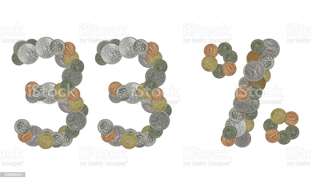 33 percent with old coins stock photo