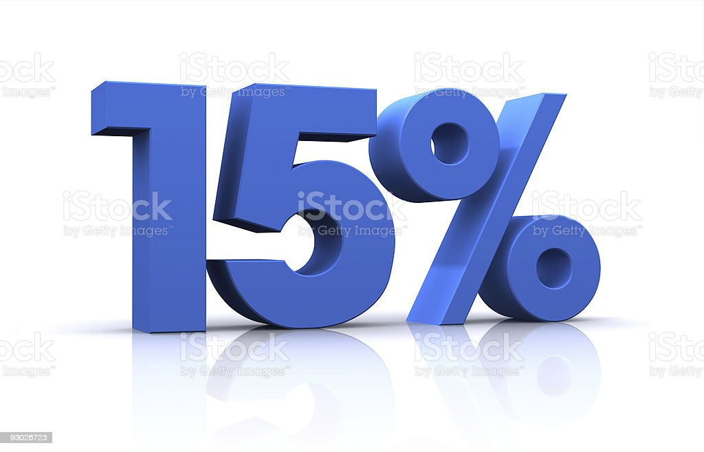 percentage, 15% royalty-free stock photo